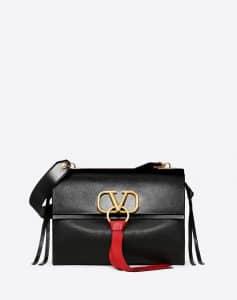 Valentino Black V-Ring Medium Flap Shoulder Bag