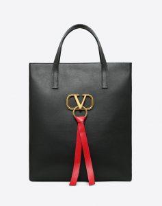 Valentino Black V-Ring N/S Large Shopper Bag