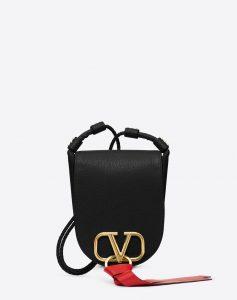 Valentino Black V-Ring Small Crossbody Bag