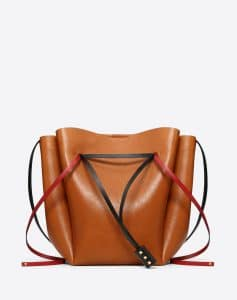Valentino Brown Cowhide Go Logo Large Bucket Bag
