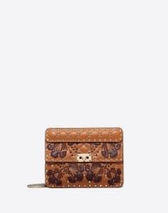 Valentino Brown Flower Intarsia Rockstud Spike.It Medium Bag