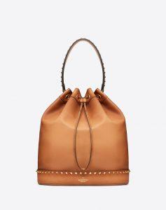 Valentino Brown Twinkle Studs Large Bucket Bag