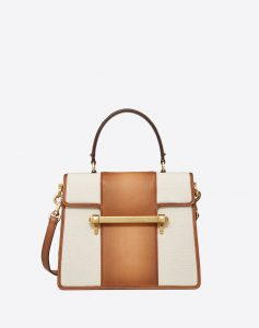 Valentino Brown/White Canvas:Leather Uptown Large Top Handle Bag