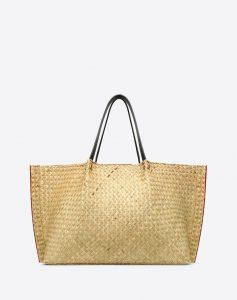Valentino Ivory Straw Go Logo Escape Large Shopper Bag