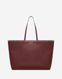 Valentino Maroon Rockstud Shopper Bag