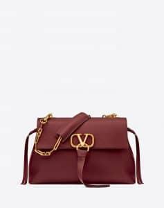 Valentino Maroon V-Ring Medium Chain Bag