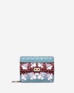 Valentino Multicolor Flower Intarsia Rockstud Spike.It Medium Bag