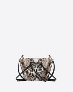 Valentino Natural Python Skin Go Logo Medium Bucket Bag