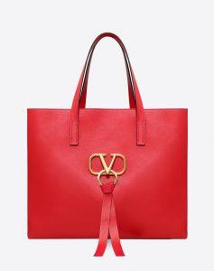 Valentino Red V-Ring E/W Large Shopper Bag