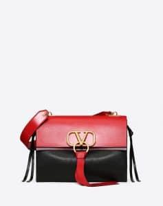 Valentino Red V-Ring Medium Flap Shoulder Bag