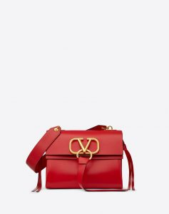 Valentino Red V-Ring Small Flap Shoulder Bag