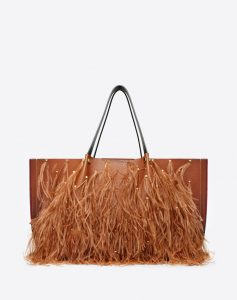 Valentino Tan Feather Embellished Go Logo Escape Large Shopper Bag