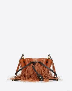 Valentino Tan Feather Embellished Small Go Logo Bucket Bag