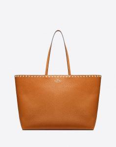 Valentino Tan Rockstud Shopper Bag