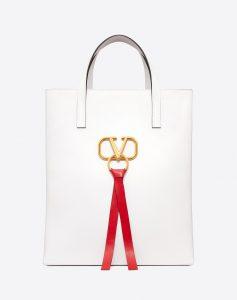 Valentino White V-Ring N/S Large Shopper Bag