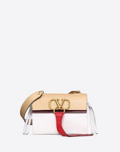 Valentino White V-Ring Small Flap Shoulder Bag