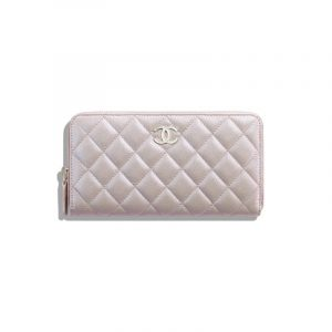 Chanel Beige Iridescent Grained Lambskin Long Zipped Wallet