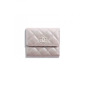 Chanel Beige Iridescent Grained Lambskin Small Flap Wallet