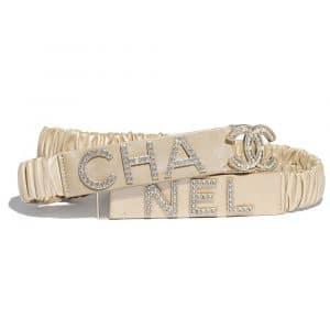 Chanel Beige Lambskin, Gold-Tone Metal, Strass & Glass Belt