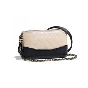 Chanel Beige/Black Aged Calfskin Gabrielle Small Clutch With Chain