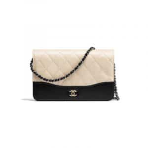 Chanel Beige/Black Aged Calfskin Wallet On Chain