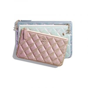 Chanel Beige/White/Light Blue Iridescent Crumpled Lambskin Pouch