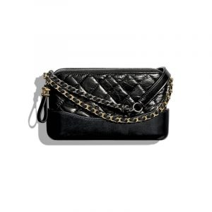 Chanel Black Aged Calfskin Gabrielle Small Clutch With Chain
