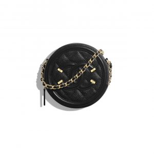 Chanel Black CC Filigree Clutch With Chain