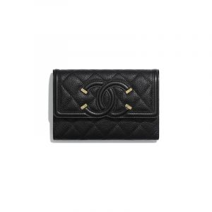 Chanel Black CC Filigree Flap Wallet