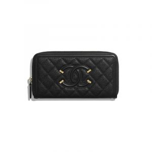 Chanel Black CC Filigree Long Zipped Wallet