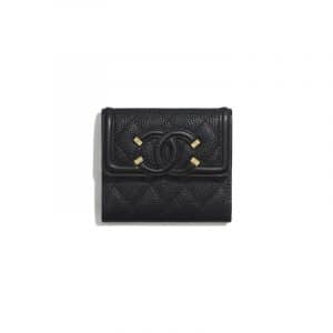 Chanel Black CC Filigree Small Flap Wallet