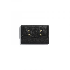 Chanel Black Grained Calfskin Flap Card Holder