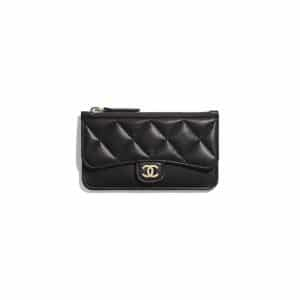 Chanel Black Lambskin Zipped Classic Card Holder