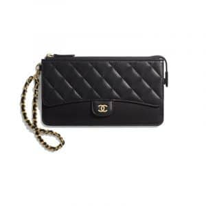 Chanel Black Lambskin Classic Pouch With Handle