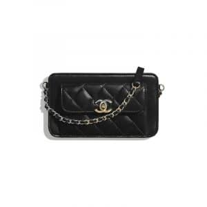 Chanel Black Lambskin Small Clutch with Chain