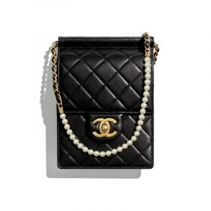 Chanel Black Lambskin and Imitation Pearls Clutch With Chain