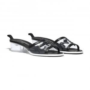 Chanel Black PVC/Lambskin Mules