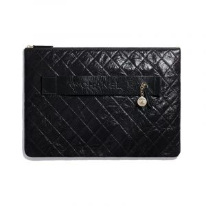 Chanel Black Shiny Crumpled Calfskin Large Pouch