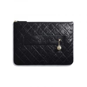 Chanel Black Shiny Crumpled Calfskin Pouch