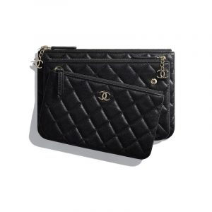 Chanel Black Shiny Lambskin Pouch