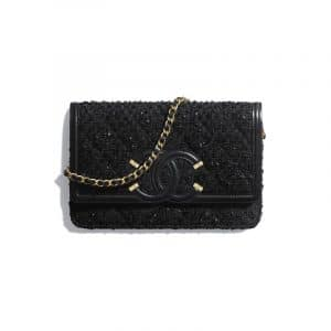 Chanel Black Tweed CC Filigree Wallet On Chain
