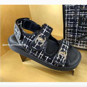 Chanel Black Tweed/Rubber Sandals