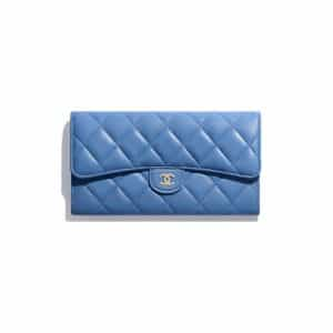 Chanel Blue Classic Long Flap Wallet