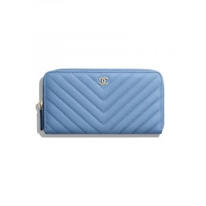 Chanel Blue Classic Long Zipped Wallet