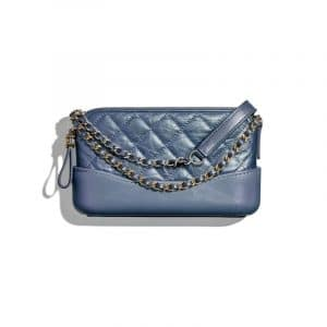Chanel Blue Iridescent Aged Calfskin Gabrielle Clutch With Chain