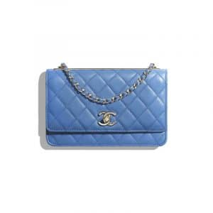 Chanel Blue Trendy CC Wallet On Chain