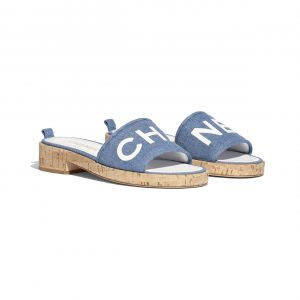 Chanel Blue/White Denim Lambskin Mules