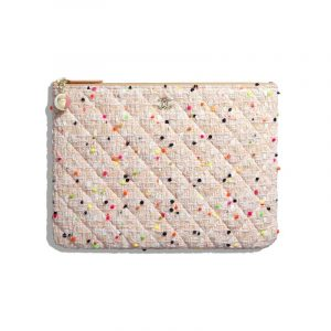 Chanel Coral/White Cotton Tweed Classic Pouch