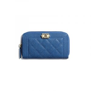 Chanel Dark Blue Boy Chanel Zipped Wallet