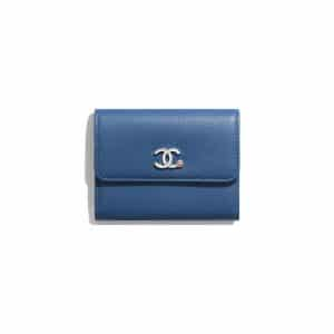 Chanel Dark Blue Goatskin Flap Coin Purse